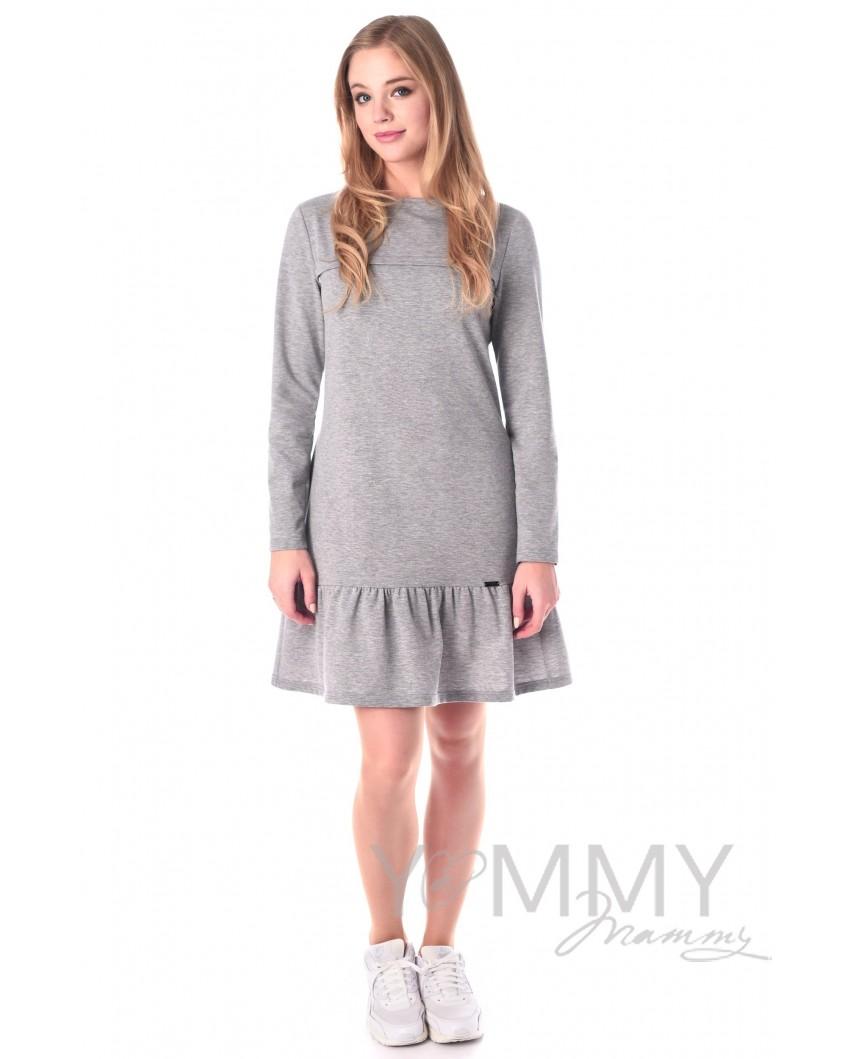 Платье с воланом (серый)