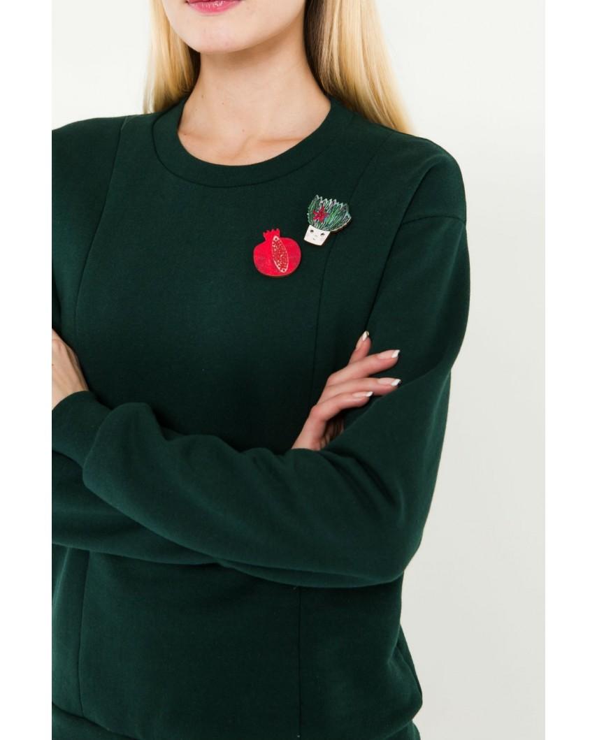 Свитшот Зеленый с брошками