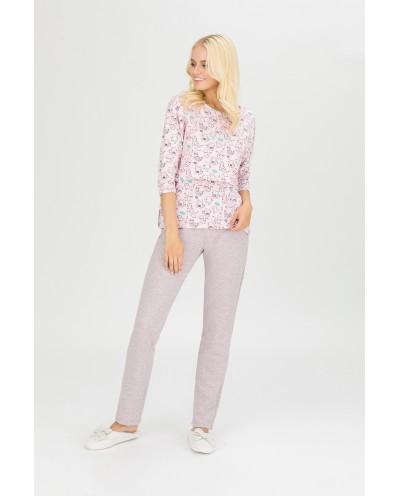"""Пижама для кормящих мам """"Коты"""" розовая"""