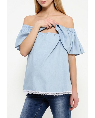 Блуза с воланом для кормления Голубая