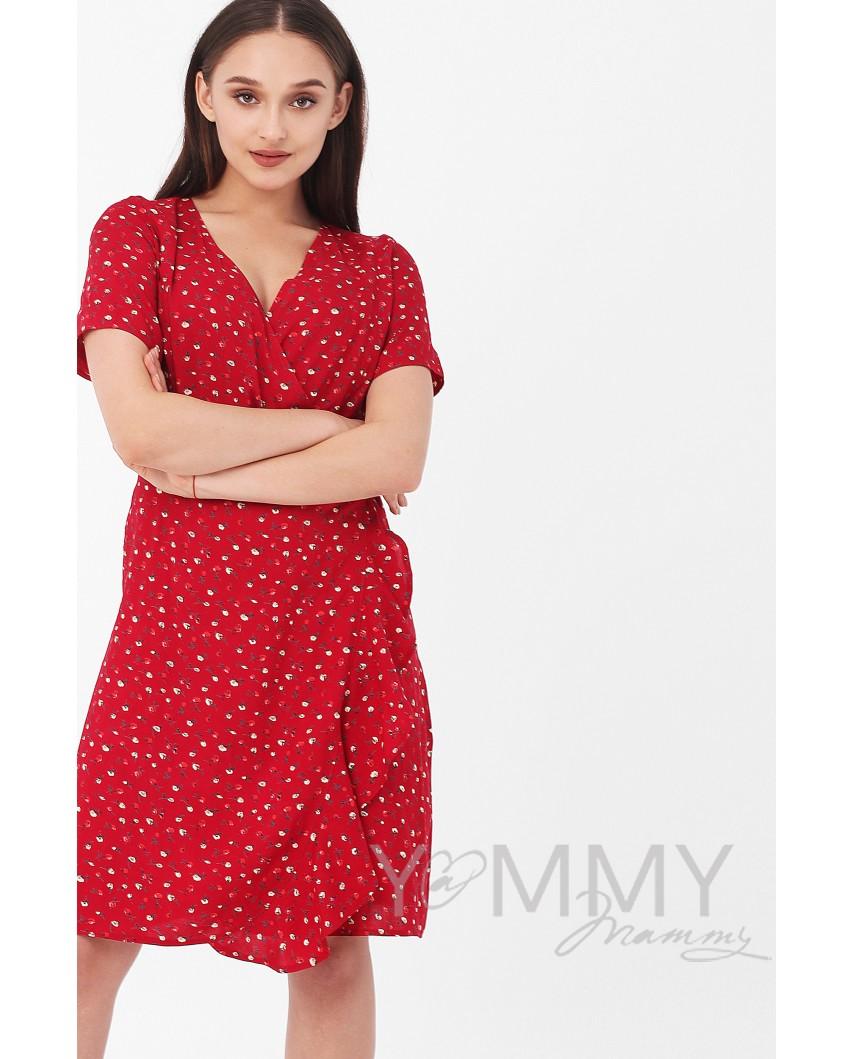 Платье на запах (красное) с цветочным принтом