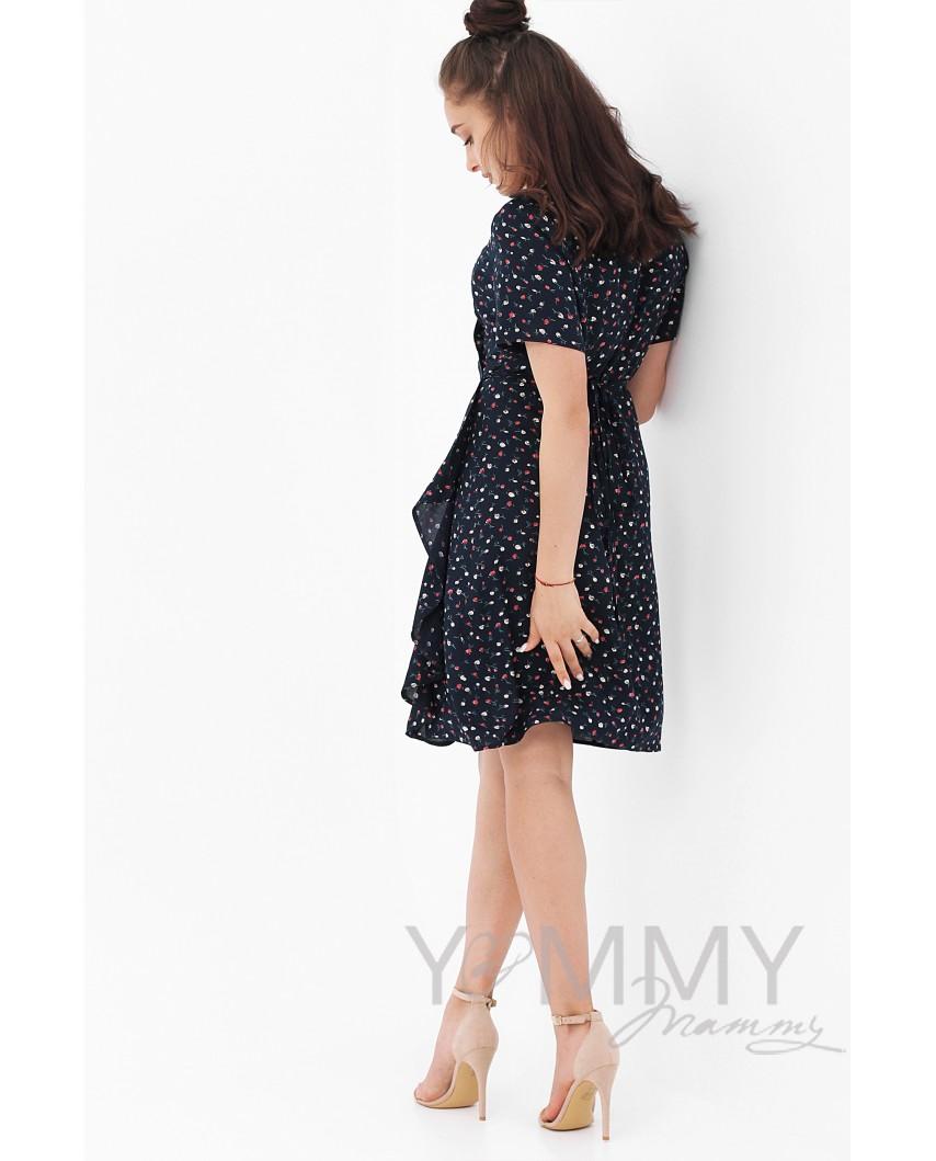 Платье на запах (темно-синее) с цветочным принтом