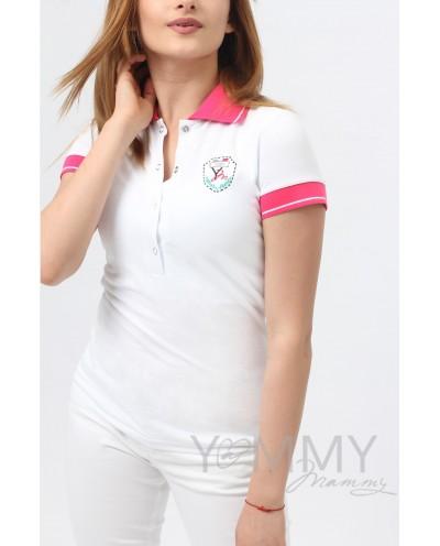 Футболка поло (белая) с розовым воротником