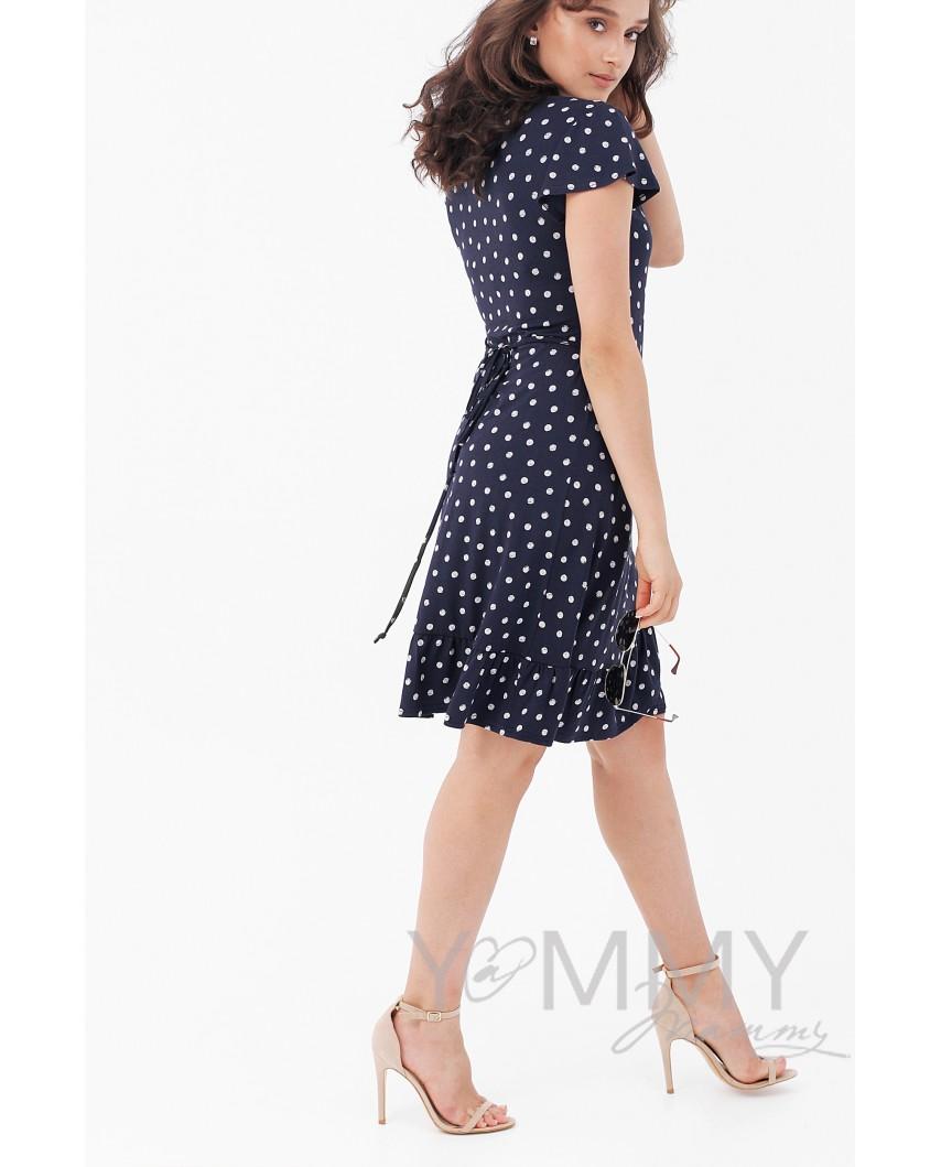 Платье на запах (синее) в горошек